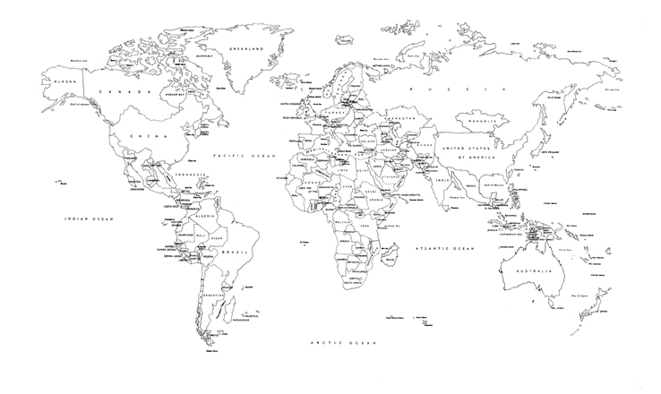 Political Map Of World Black And White - World map black and white printable with countries